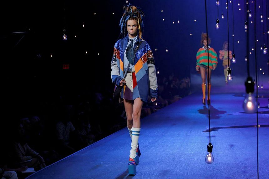 A model presents a creation from the Marc Jacobs Spring/Summer 2017 collection at New York Fashion Week in Manhattan, New York on Sept 15, 2016.