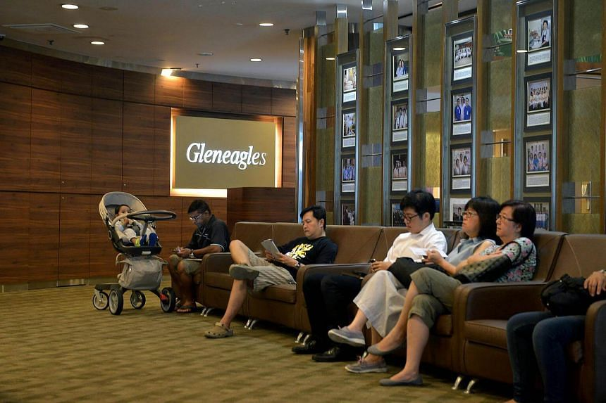 Patients at a waiting area in Gleneagles Hospital.