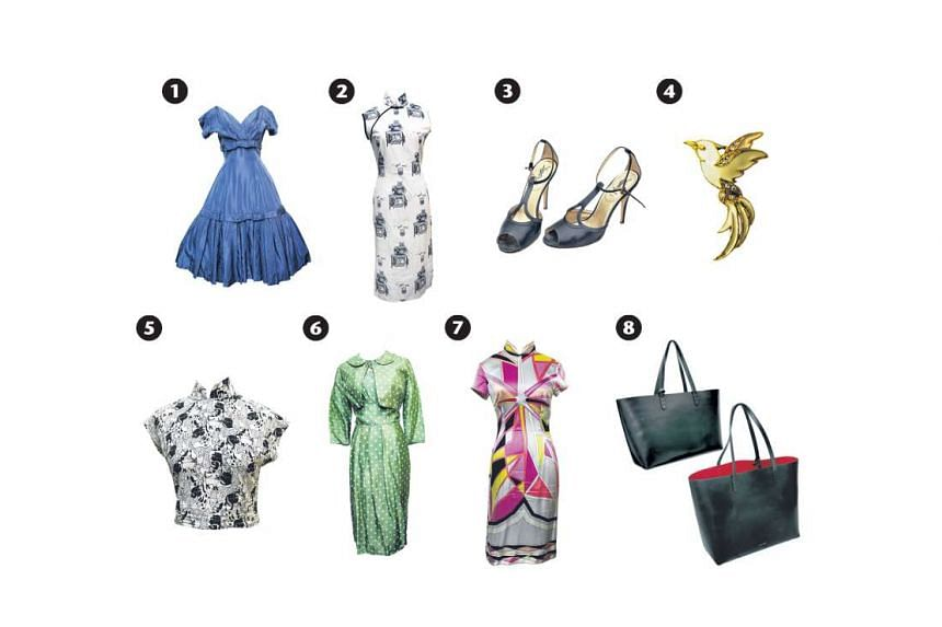 1: A vintage dress from the 1950s. 2: Tailor-made cheongsam with a cat print. 3: Yves Saint Laurent black T-bar heels. 4: Hummingbird enamel brooch. 5: Cat-print cheongsam crop top. 6: Vintage polka-dot pencil skirt dresses. 7: Silk cheongsam. 8: Man
