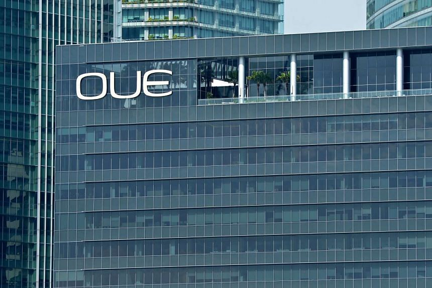 The OUE building in the Central Business District of Singapore.