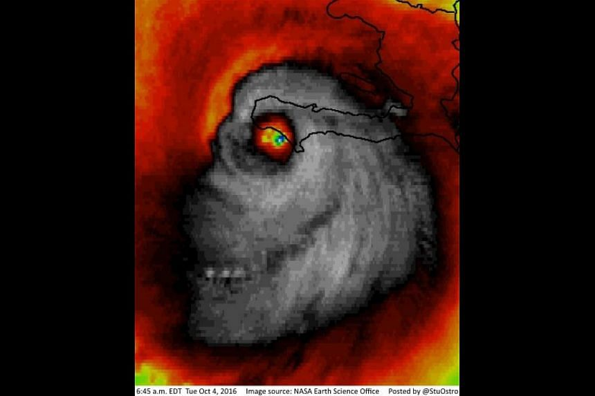 A creepy satellite photograph of Hurricane Matthew resembling a skull was posted on Tuesday (Oct 4) by Weather Channel senior meteorologist Stu Ostro.