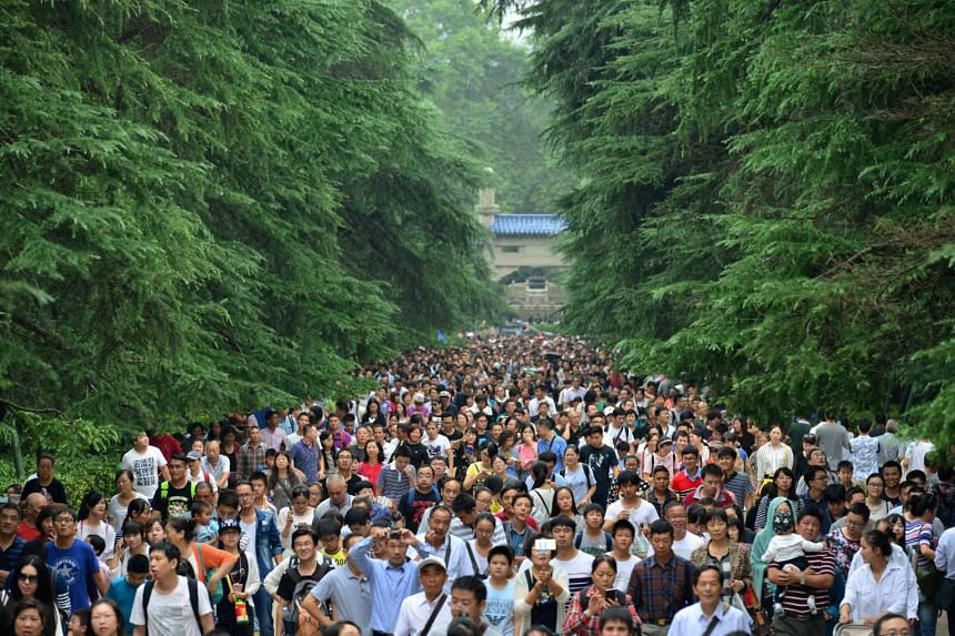 Visitors at a tourist resort during the national golden week holiday in Nanjing, China, on Oct 4, 2016.