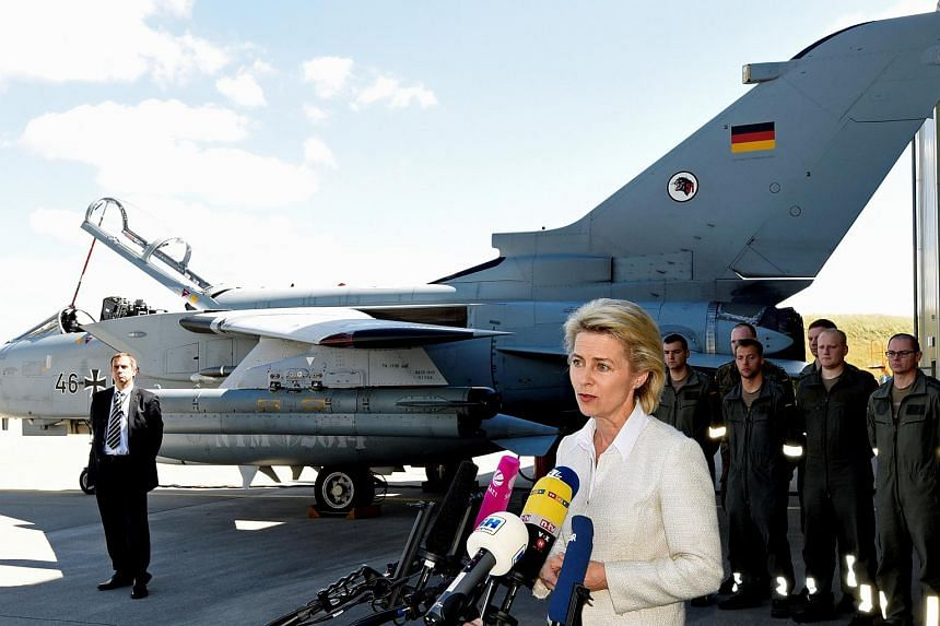 "German Defence Minister Ursula von der Leyen visits the Tactical Air Force Wing 51 ""Immelmann"" at German army Bundeswehr airbase in Jagel on Aug 17, 2016."