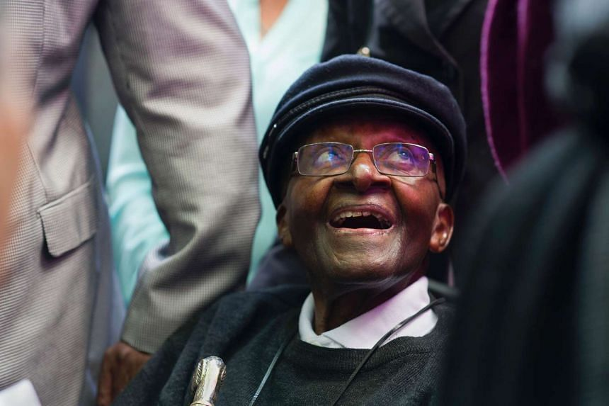 South African retired Anglican archbishop and anti-apartheid icon Desmond Tutu during a tea party held to mark his 85th birthday on Oct 7, 2016 in Cape Town.