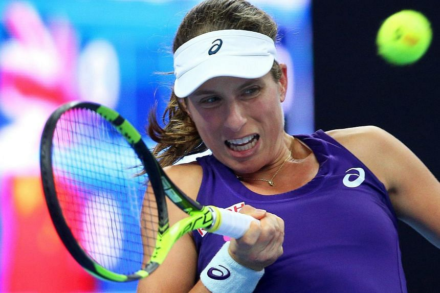 Johanna Konta in action against Zhang Shuai of China during their women's quarter final match of the China Open in Beijing on Oct 7, 2016.