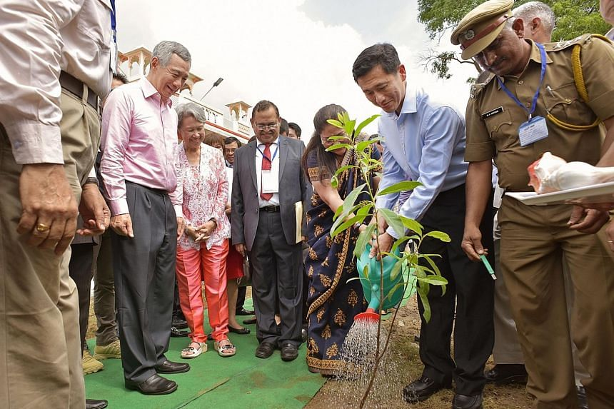 PM Lee and Mrs Lee were present as Acting Minister for Education Ong Ye Kung and Rajasthan Chief Minister Vasundhara Raje planted a Rudraksha tree - whose seeds are used as prayer beads in India - at the launch of the Centre of Excellence for Tourism