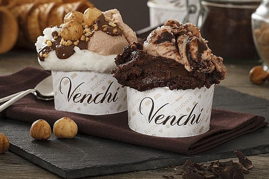 Venchi gelato is available at Venchi, Takashimaya Food Hall, World Confectionery, Basement 2, 391 Orchard Road; and at Le Chocolatier, Robinsons at The Heeren, Basement 1, 260 Orchard Road