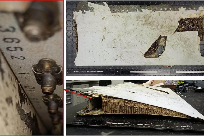 An undated combo photo handout received on Oct 7, 2016, shows a trailing edge section of Boeing 777 left, outboard flap, originating from the Malaysian Airlines aircraft registered 9M-MRO (MH370).