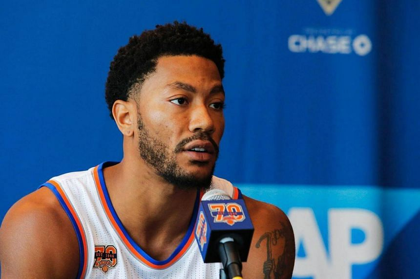 Derrick Rose speaking at a press conference during the New York Knicks Media Day in White Plains, New York.