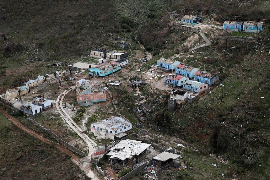 A general view of an orphanage partially destroyed after Hurricane Matthew passes Jeremie, Haiti, on Oct 6, 2016.