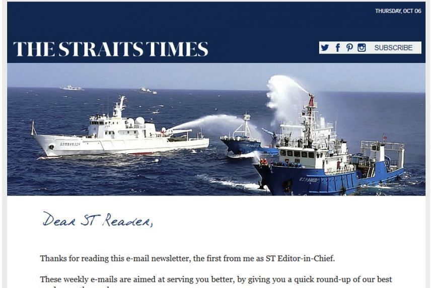 The new weekly online newsletter that is curated by Straits Times editor Warren Fernandez.