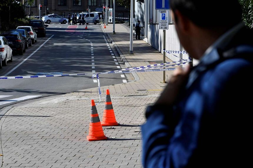 A security perimeter is seen at the spot where two police officers were stabbed on Oct 5, 2016, in Brussels.