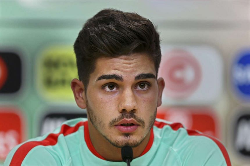 Portuguese national soccer team player Andre Silva speaks during a press conference in Oeiras, near Lisbon, Portugal on Oct 5, 2016.