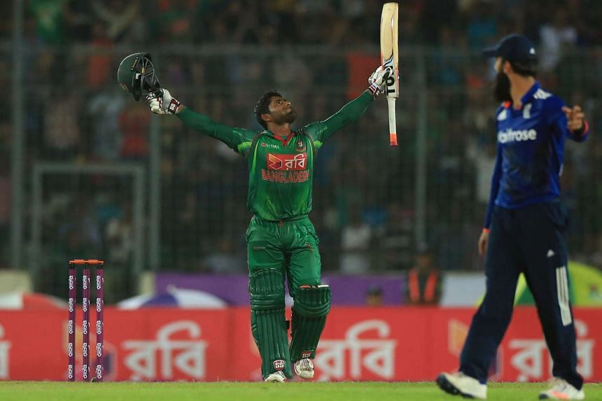 Bangladesh cricketer Imrul Kayes celebrating a century (100 runs) during the first one day international (ODI) cricket match between Bangladesh and England at the Sher-e-Bangla National Cricket Stadium in Dhaka on Oct 7, 2016.