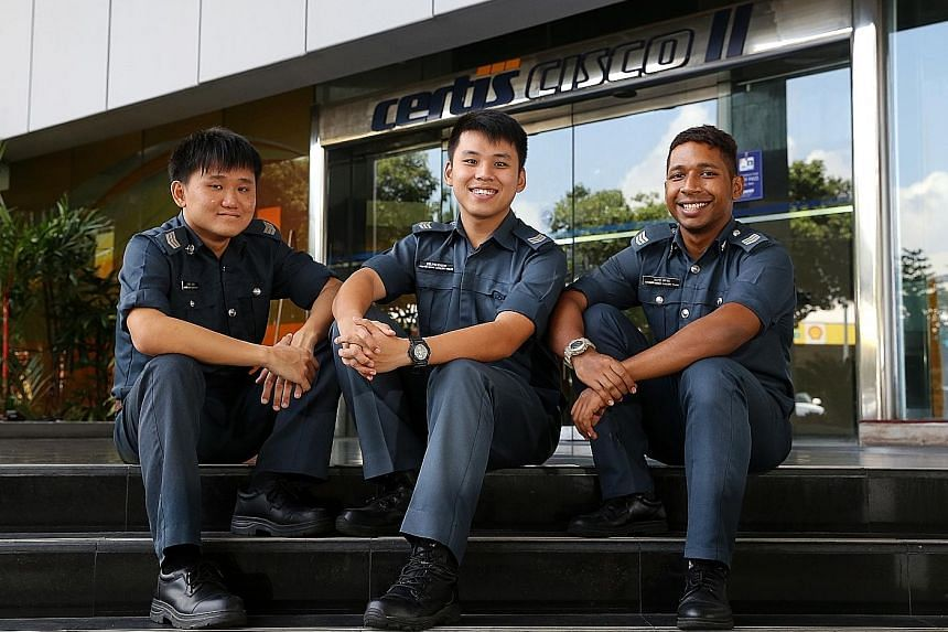 Certis Cisco part-time auxiliary officers (from left) Damien Chew, 28; Kelvin Khaw, 26; and Muhd Irfan, 24. Part-timers like them make up about 60 per cent of the security firm's 300 part-time APOs.