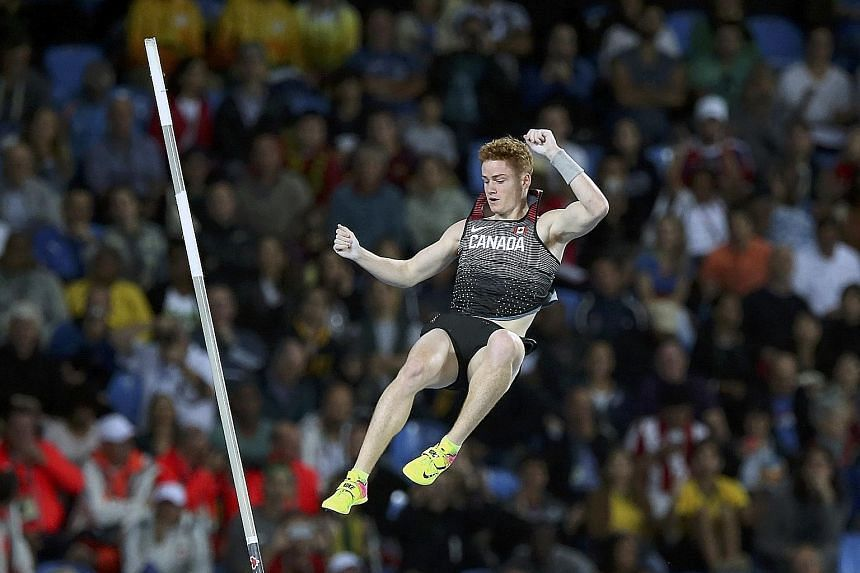 Canada's Shawn Barber competing in the men's pole vault final at the Rio de Janeiro Olympics. The 22-year old was one of the favourites to win gold but finished 10th. Leading up to the Games in August, he tested positive for cocaine and faced a possi