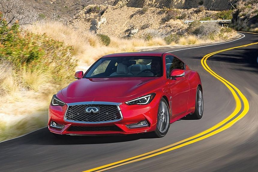 The helm boasts Infiniti's sophisticated direct adaptive steering system. The new Infiniti Q60 encourages spirited driving, with fantastic handling, negligible body roll and plenty of tyre grip.