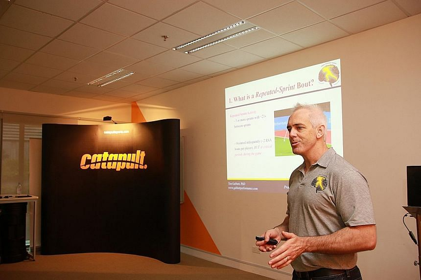Tim Gabbett speaking at a workshop organised by athlete analytics company Catapult Sports at the Singapore Sports Institute.