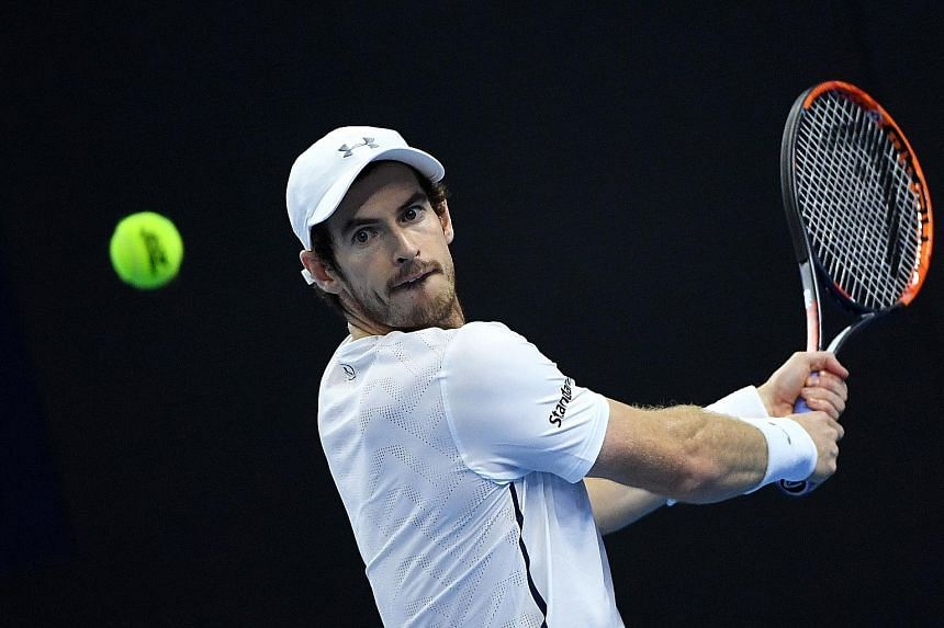 Andy Murray readying for a backhand against fellow Briton Kyle Edmund, who nearly took the first set but went down tamely in the second. Murray plays Spaniard David Ferrer in today's semi-finals.