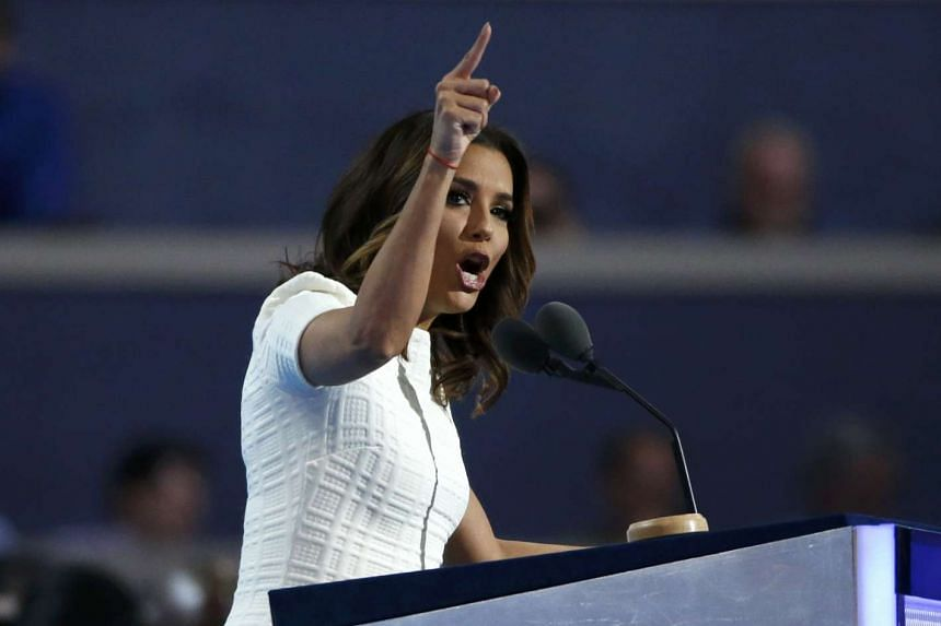 Actress Eva Longoria speaking at the Democratic National Convention in Philadelphia, Pennsylvania, US, on July 25, 2016.