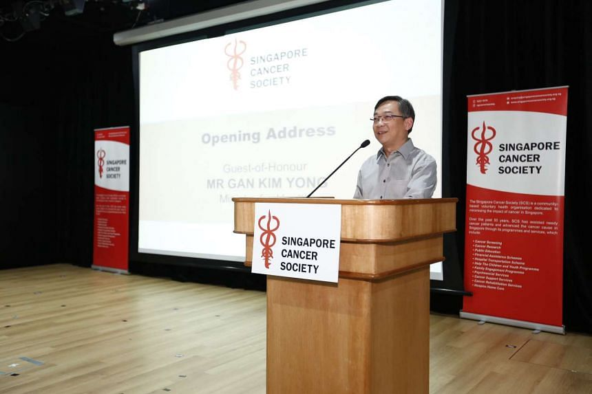 Health Minister Gan Kim Yong delivering his speech at the official opening of the SCS Cancer Rehab Centre.