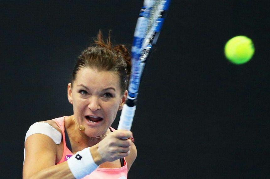 Agnieszka Radwanska of Poland in action against Yaroslava Shvedova of Kazakhstan on Oct 7, 2016.