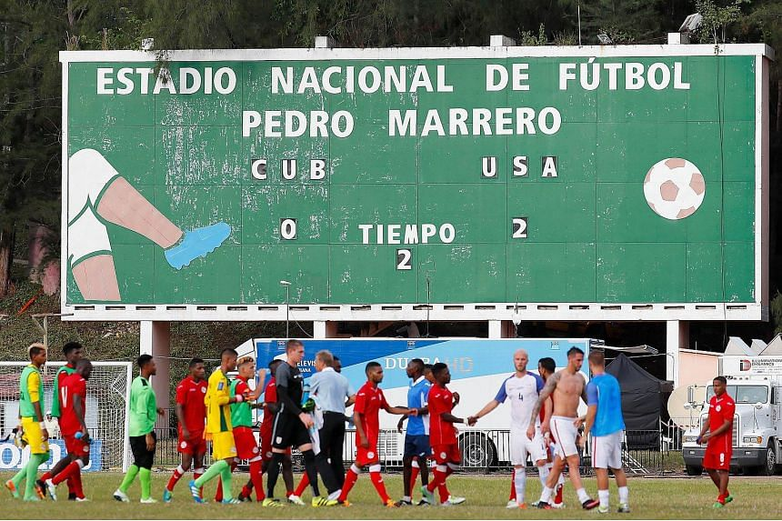 A view of the scoreboard after the United States defeated Cuba 2-0 during a friendly match at the Estadio Pedro Marrero on Oct 7, 2016.