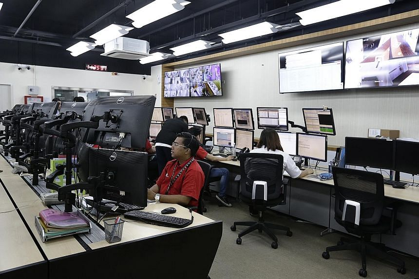 At Ademco Security Group's central monitoring station, more than half a dozen people remotely monitor over 6,000 locations in Singapore.