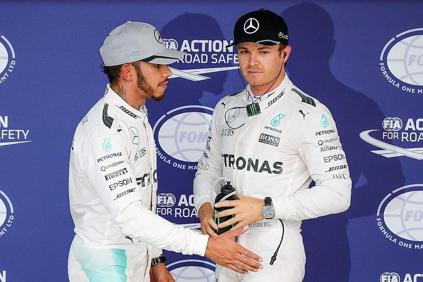 Another top-row lock for Mercedes in the Japanese Grand Prix qualifying, with Nico Rosberg (right) claiming pole position, just 0.013sec faster than team-mate Lewis Hamilton for today's race. Rosberg is 23 points ahead of Hamilton in the drivers' sta