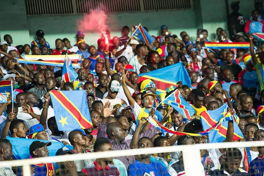 Democratic Republic of Congo supporters cheer on their team in the match against Central African Republic on Sept 4, 2016.