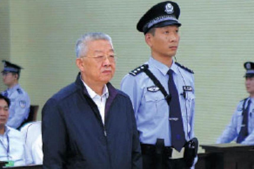 Former senior legislator Bai Enpei stands trial in Anyang, Henan province, in June 2016.