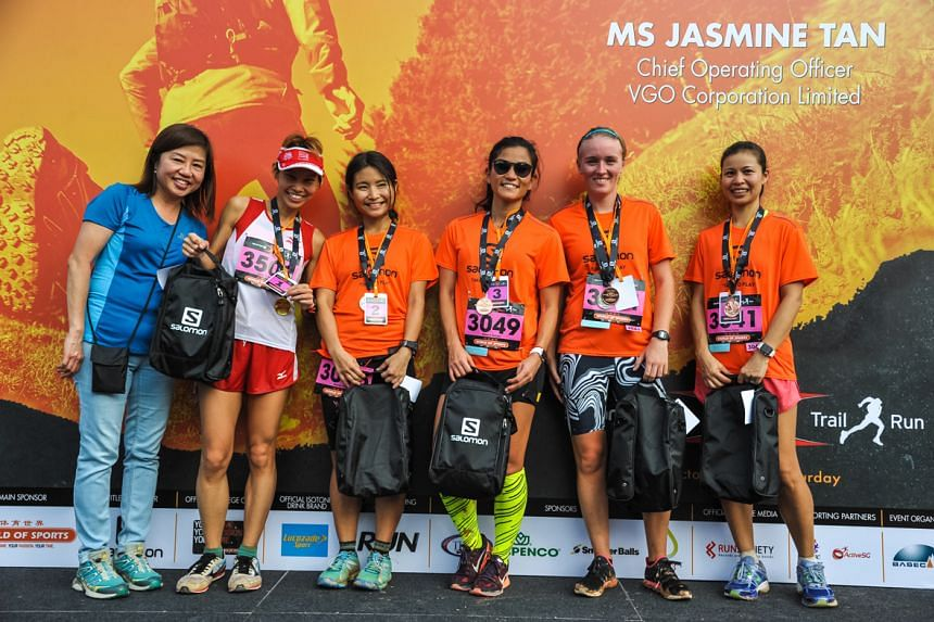 Participants of the Salomon X-Trail Run 2016 posing at the end of the race, on Oct 9, 2016.