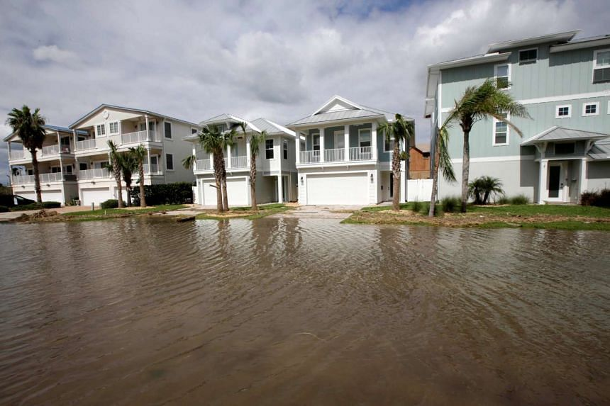 Flooded streets are seen near Jacksonville Beach, Florida, after Hurricane Matthew hit the area, on Oct 8, 2016.