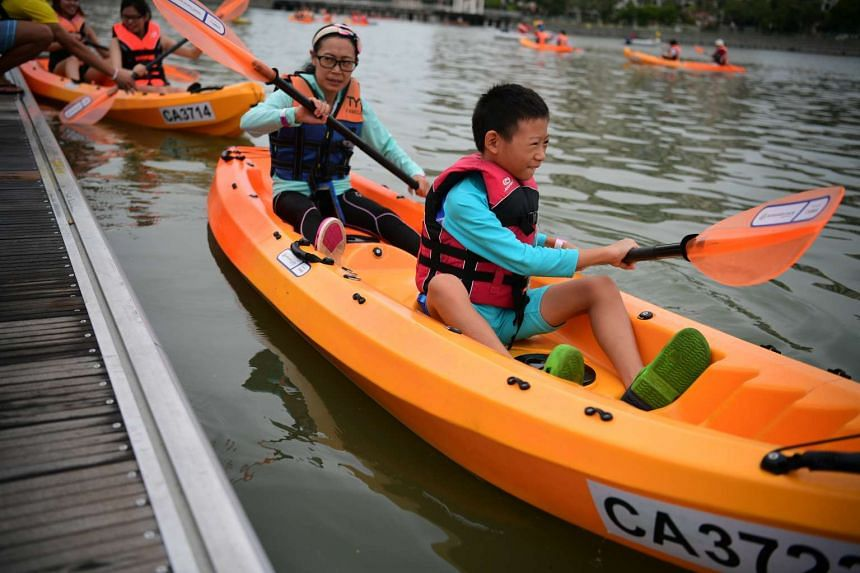 Participants learning how to kayak during the Water Sports Centre Community Day on Oct 9, 2016.
