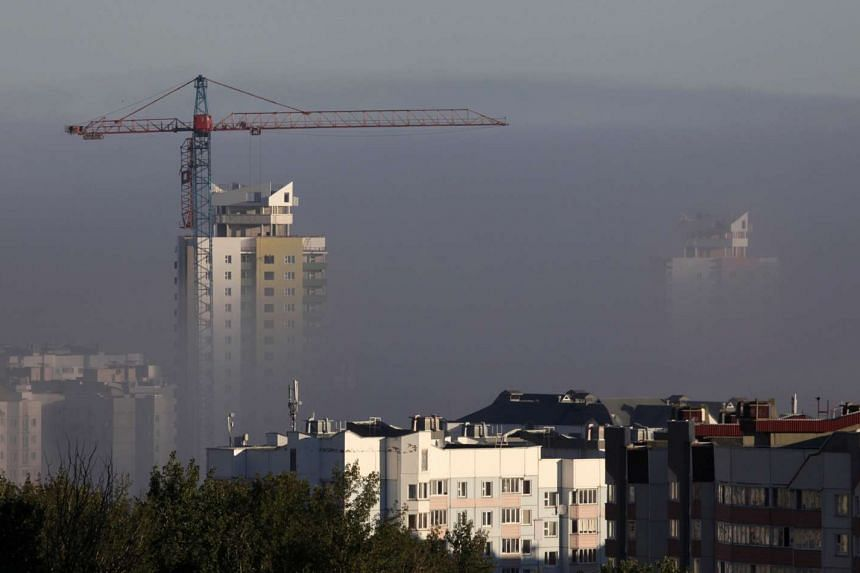 A building site is seen during heavy fog in Minsk, Belarus Sept 15, 2016.