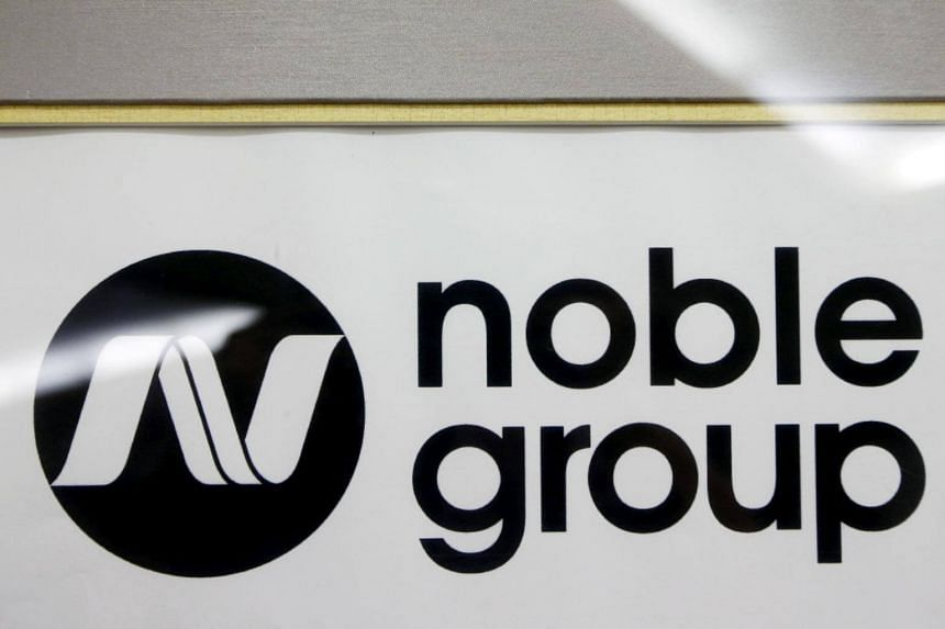 A Noble Group sign is pictured at a meet-the-investors event in Singapore.