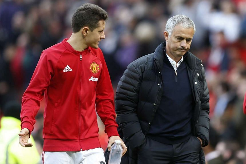 Manchester United's Ander Herrera and manager Jose Mourinho during Manchester United's match against Stoke City on Oct 2, 2016.