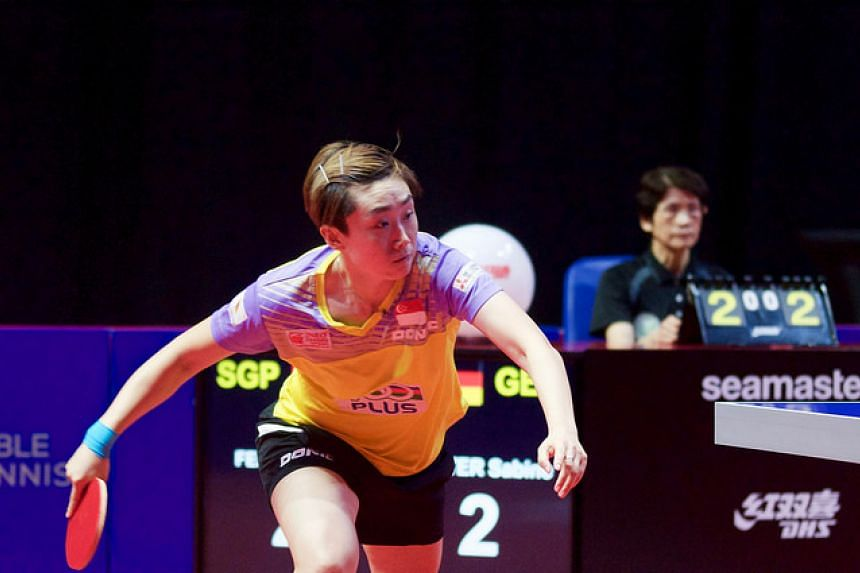 Feng Tianwei competing at the quarter-final match against Sabine Winter (Germany) at the Women's World Cup in Philadelphia.