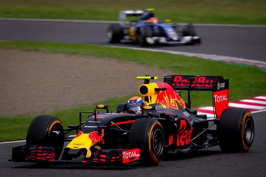 Dutch Formula One driver Max Verstappen of Red Bull Racing in action during the Japanese Formula One Grand Prix at the Suzuka Circuit in Suzuka, central Japan, on Oct 9, 2016.