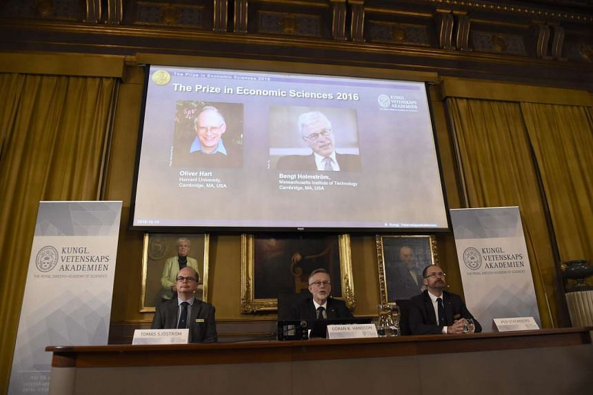 The press conference on the winners of the 2016 Nobel Prize in Economic Sciences in Stockholm, Sweden on Oct 10, 2016.