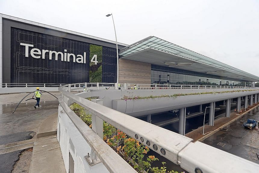 From the outside, T4 - Changi Airport's new passenger terminal - looks finished. But it will not be ready to receive travellers and visitors yet - the opening is slated for the second half of next year. The new terminal will have more self-service an