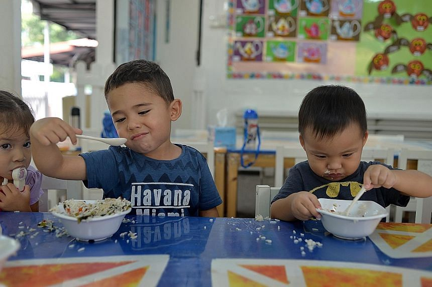 Meals are prepared by Singapore Food Industries, saving pre-schools the need to hire and supervise cooks or devote space to kitchens.