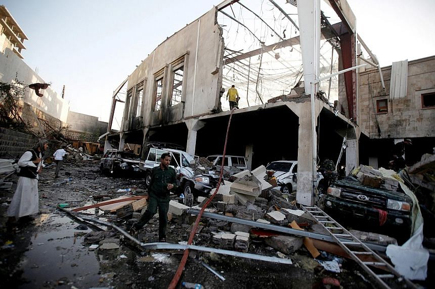 """The air strike on a funeral hall in Sanaa was described as a """"massacre"""" by the Houthi rebels and could further strain US-Saudi ties."""