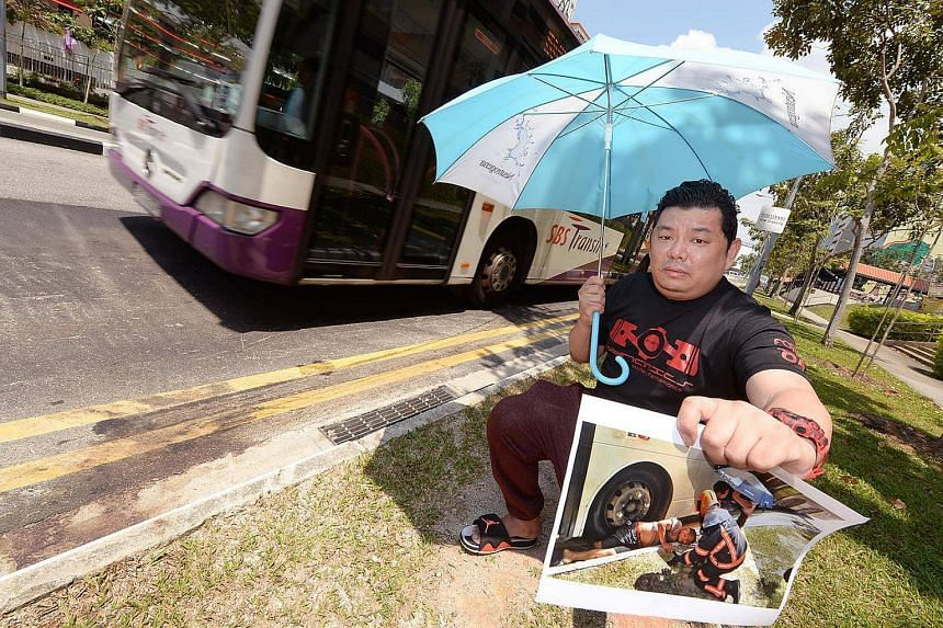 Mr Albert Leow, gives his account of helping Mr Lim Choon Seng, whose leg was trapped under a bus at Hougang Avenue 9.