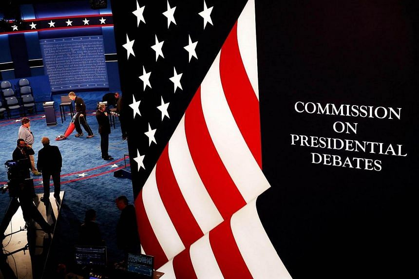 Preparations are made before the town hall debate at Washington University on Oct 9, 2016, in St Louis, Missouri.
