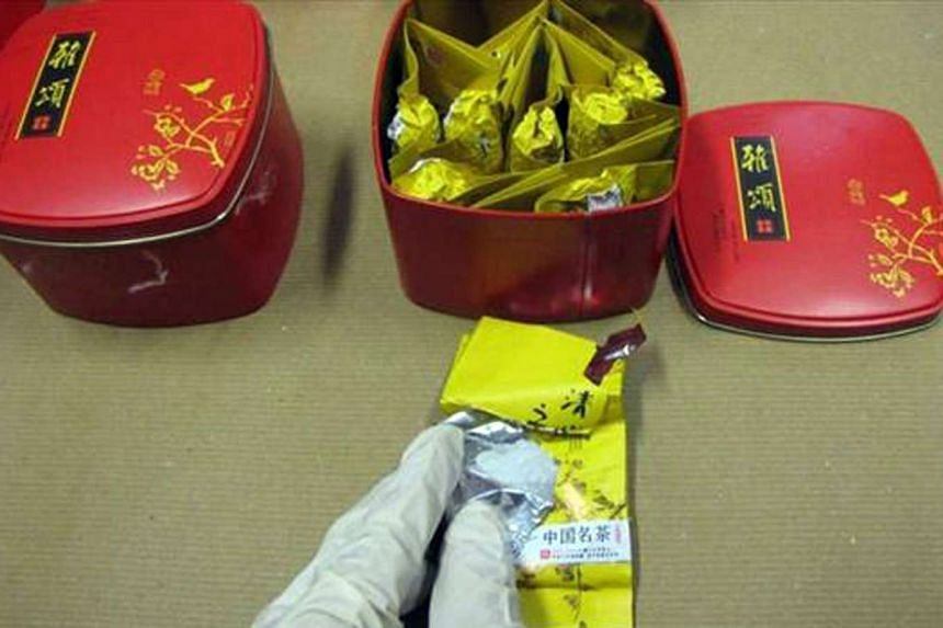Drugs concealed in tea packaging.