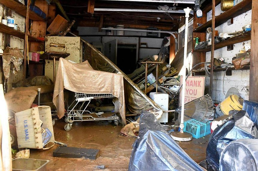 The garage after flooding rain caused by Hurricane Matthew at Paye Funeral Home and Cremations in Fayetteville, North Carolina, US, on Oct 9, 2016.