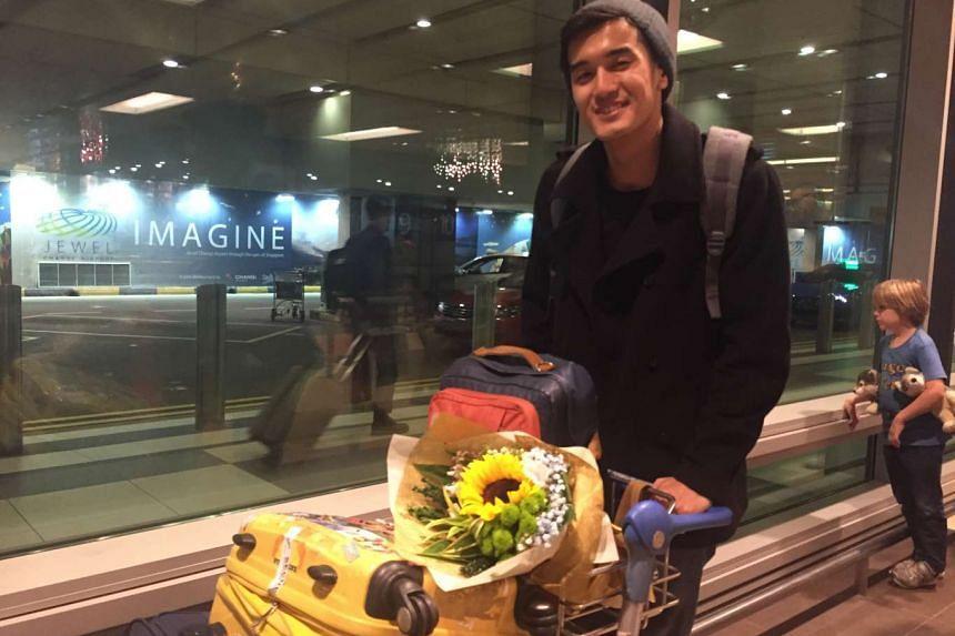 Singaporean singer Nathan Hartono at Changi Airport Terminal 1 late on Oct 9, 2016.