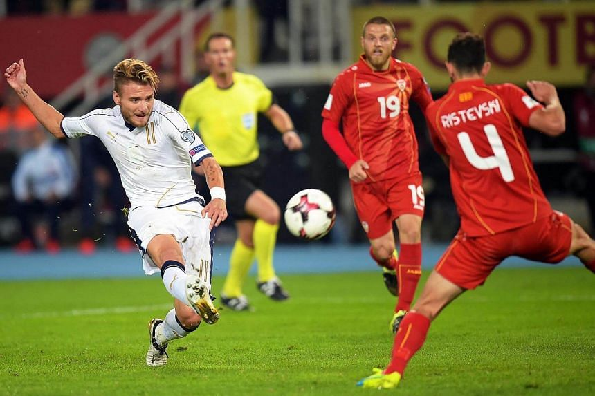 Ciro Immobile (left) of Italy in action during the Fifa World Cup 2018 qualification match between Macedonia and Italy, on Oct 9, 2016.