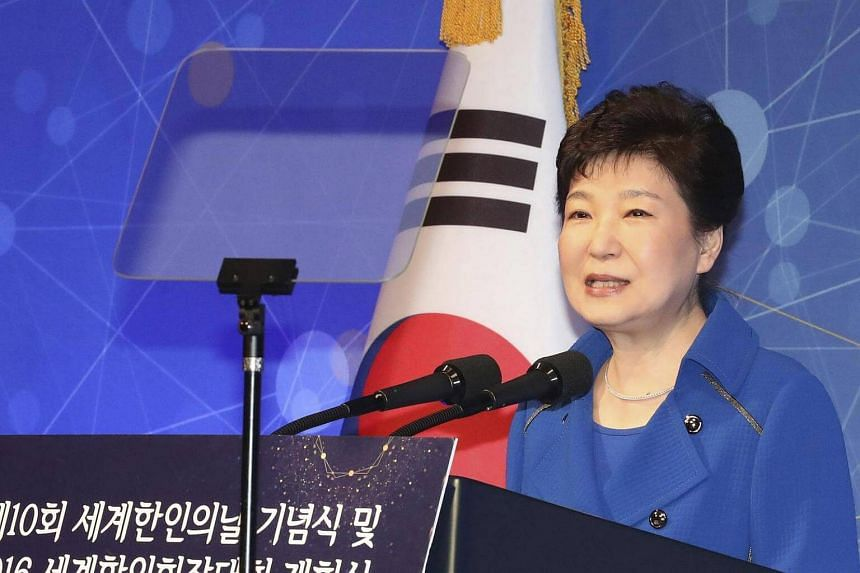 South Korean President Park Geun Hye speaks at a ceremony of the 10th Korean Day in Seoul, South Korea, on Oct 5, 2016.